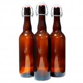 Бутылка с бугельной пробкой коричневое стекло 1 л (9 шт.)