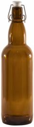 Бутылка с бугельной пробкой, 1 л, коричневая
