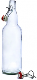 Бутылка с бугельной пробкой, 1 л, прозрачная